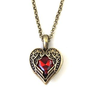 CatstoneNYC Red Crystal Heart Pendant Necklace